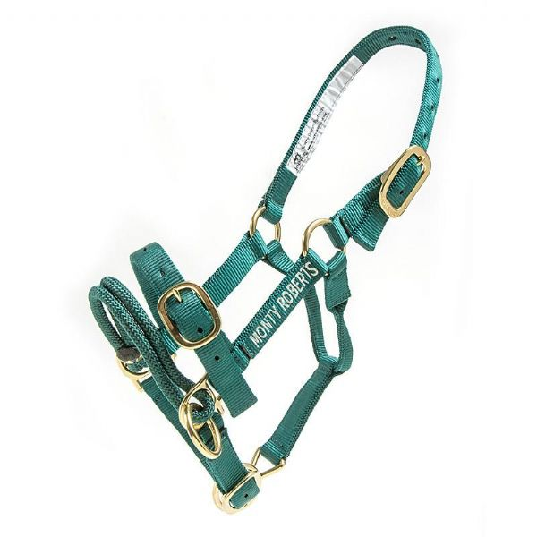 Monty Roberts Dually Halter: Extra Small Green Nylon Headcollar. With how to use it DVD.
